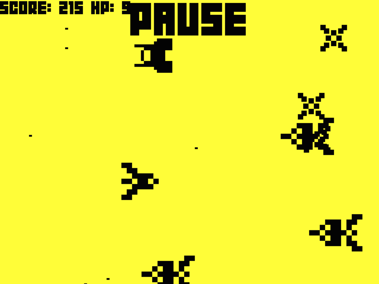 A screenshot of a game in progress. The player's ship is in a swarm of enemy ships.